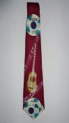 Gents Necktie With CDs and Acoustic Guitar on Burgundy