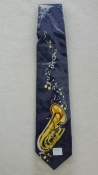 Gents Necktie with Tuba  on Blue Background